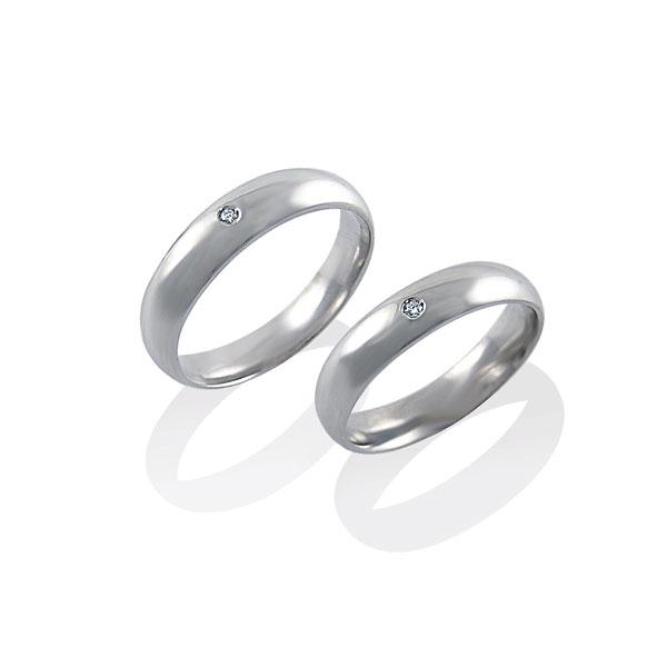 AGFD001 - Coppia di fedi diamantate in Argento 925 ‰ con diamante, misure donna e uomo