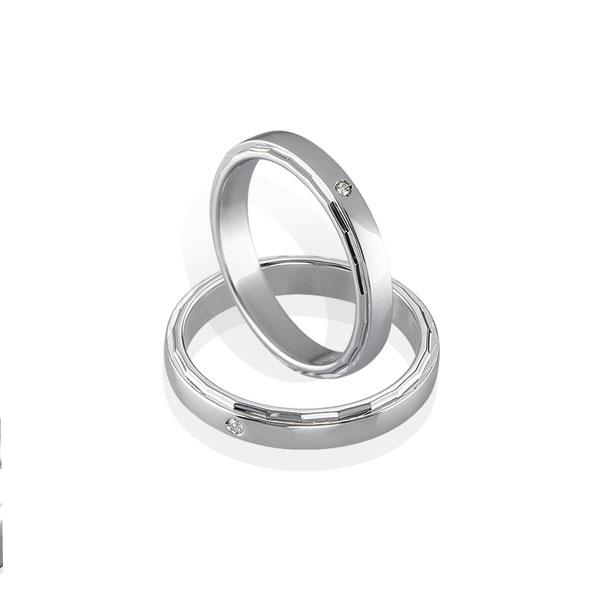 AGFD003 - Coppia di fedi diamantate in Argento 925 ‰ con diamante, misure donna e uomo