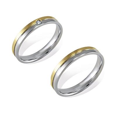 FD-FN 244 - Coppia di fedi in oro bianco e giallo 18 kt con e senza diamante