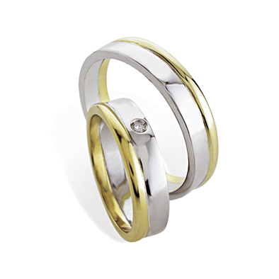 FD-FN 272 - Coppia di fedi in oro bianco e giallo 18 kt con e senza diamante