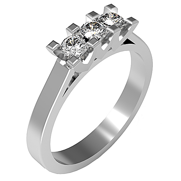 FT251BIA - Anello trilogy in oro bianco 18 kt con diamanti in diverse carature