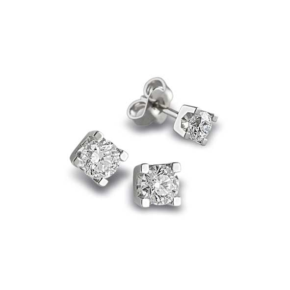 OB034 - Orecchini in oro bianco 18 kt con diamanti in diverse carature
