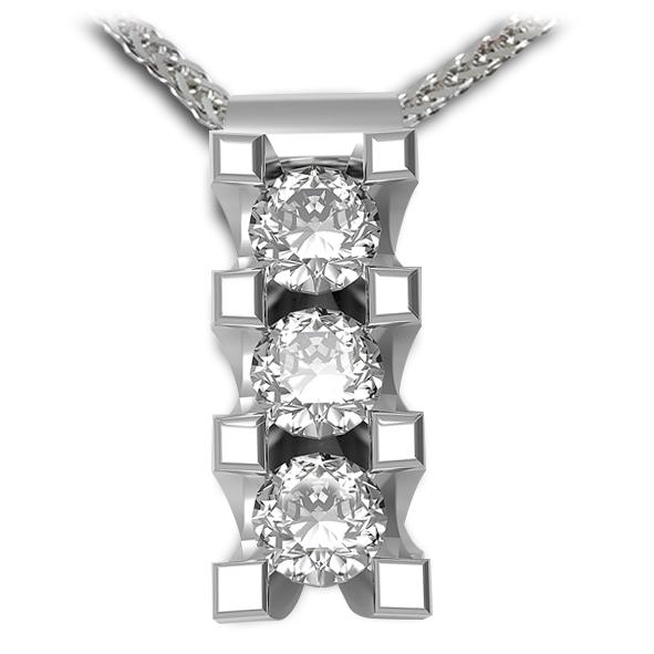 PB1630BIA - Girocollo trilogy in oro bianco 18 kt con diamanti in diverse carature