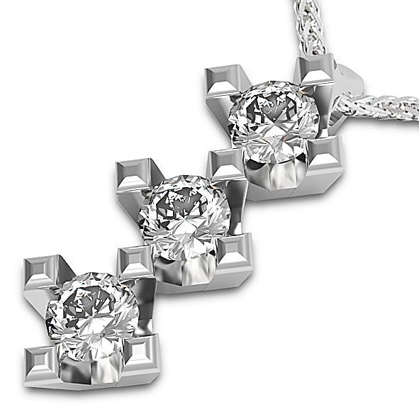 PB1633BIA - Girocollo trilogy in oro bianco 18 kt con diamanti in diverse carature