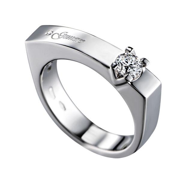 SA688 - Anello solitario in oro bianco 18kt con diamanti di diverse carature