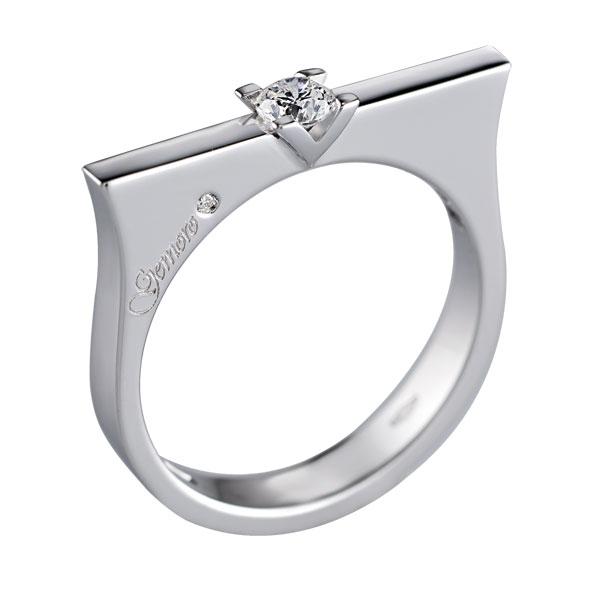 SA689 - Anello solitario in oro bianco 18kt con diamanti