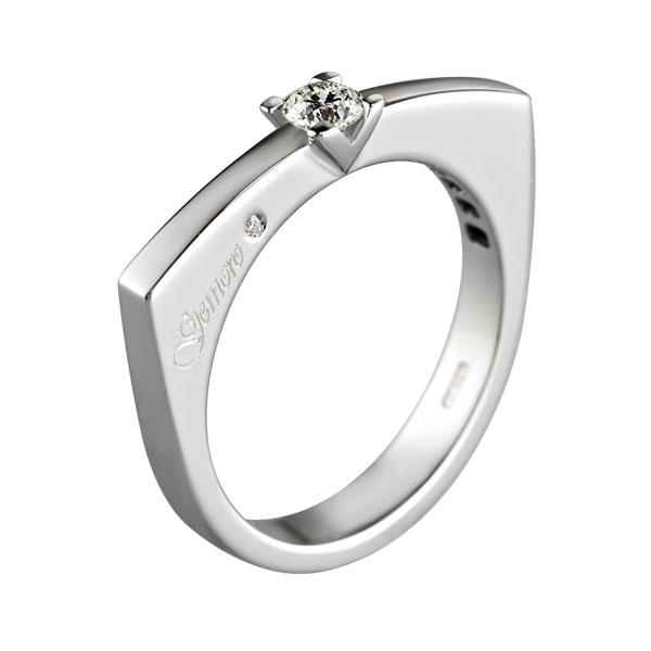 SA690 - Anello solitario in oro bianco 18kt con diamanti