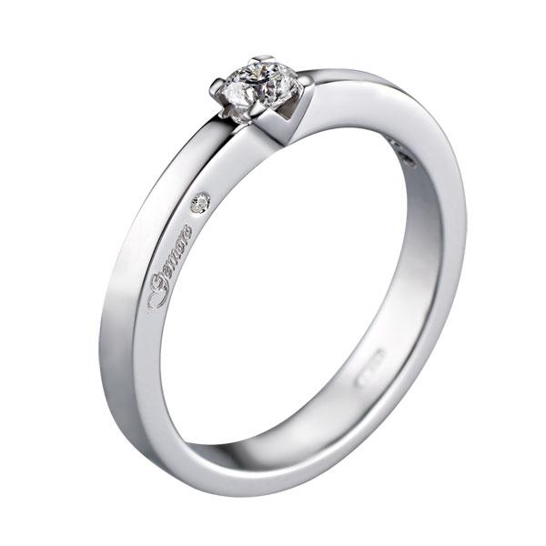 SA691 - Anello solitario in oro bianco 18kt con diamanti