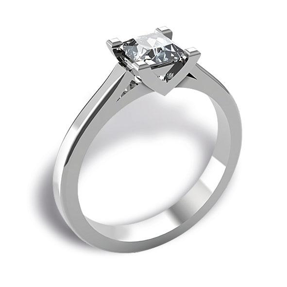 SS710BIA - Anello solitario in oro bianco 18 kt con diamante taglio princess
