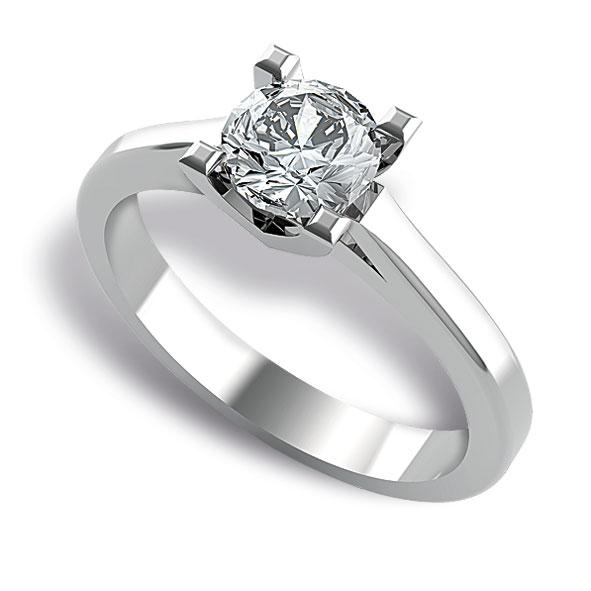 SS711BIA - Anello solitario in oro bianco 18 kt con diamante taglio brillante
