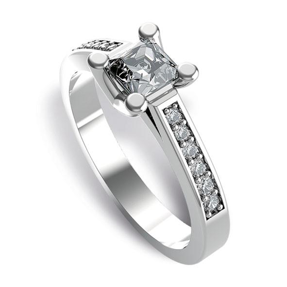 SF716BIA - Anello Fantasia in oro bianco 18 kt con diamanti taglio princess e brillante