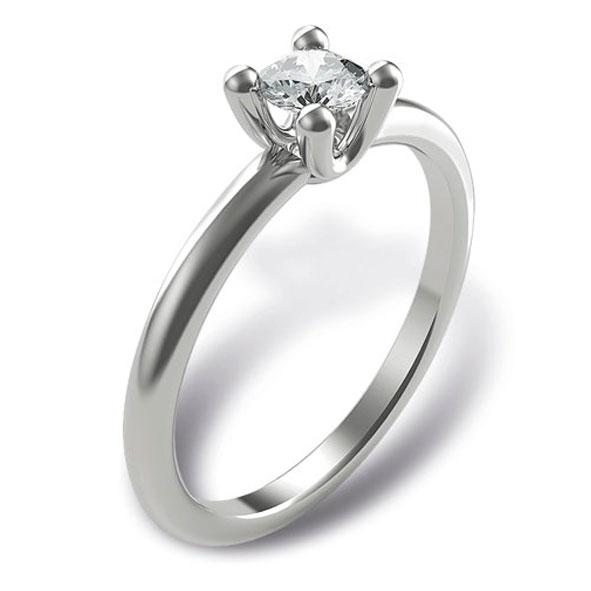 SS717BIA - Anello Solitario in oro bianco 18 kt con diamante taglio brillante in diverse carature