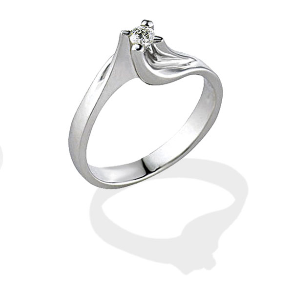 TAGSS087 - Anello solitario in Argento 925 ‰ con diamante ct 0,05