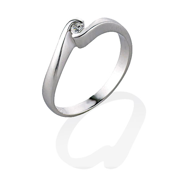 TAGSS230 - Anello solitario in Argento 925 ‰ con diamante ct 0,04