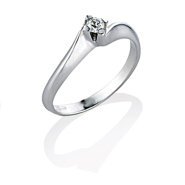 TAGSS367 - Anello solitario in Argento 925 ‰ con diamante ct 0,04
