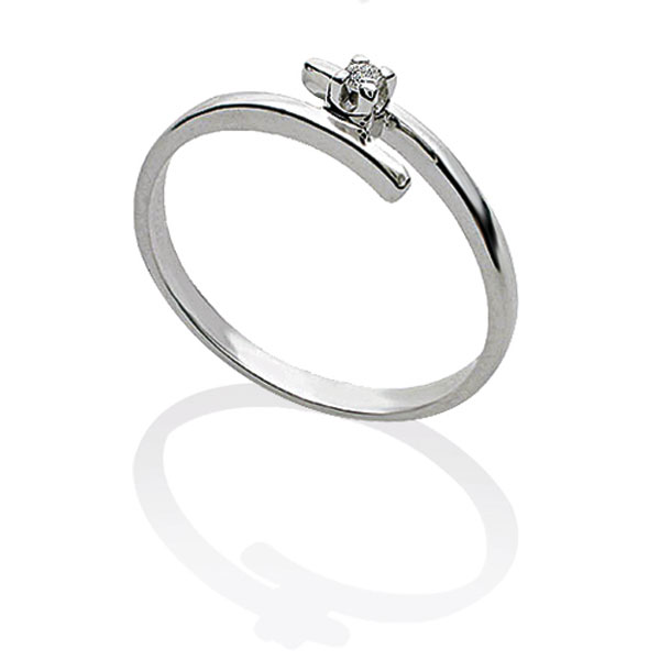 TAGSS407 - Anello solitario in Argento 925 ‰ con diamante ct 0,03