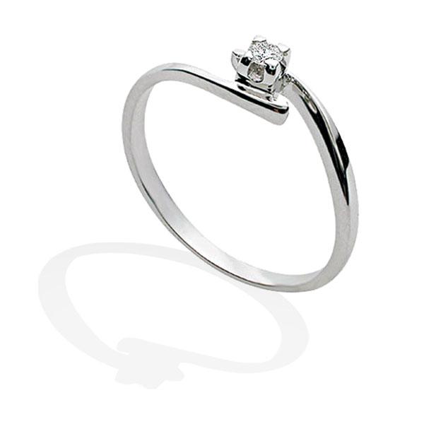TAGSS408 - Anello solitario in Argento 925 ‰ con diamante ct 0,04