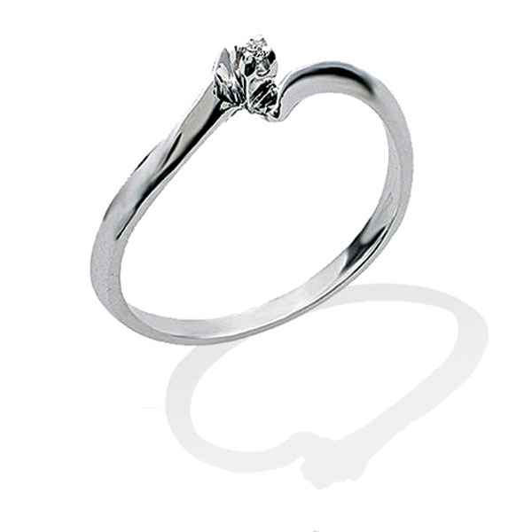 TAGSS417 - Anello solitario in Argento 925 ‰ con diamante ct 0,02