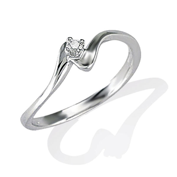 TAGSS425 - Anello solitario in Argento 925 ‰ con diamante ct 0,02