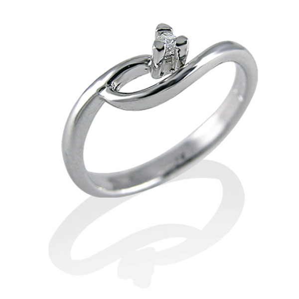 TAGSS479 - Anello solitario in Argento 925 ‰ con diamante ct 0,02