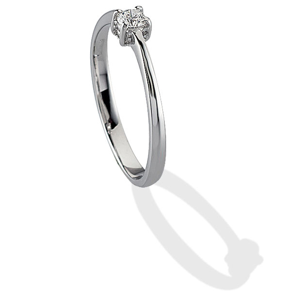 TAGSS489 - Anello solitario in Argento 925 ‰ con diamante ct 0,05