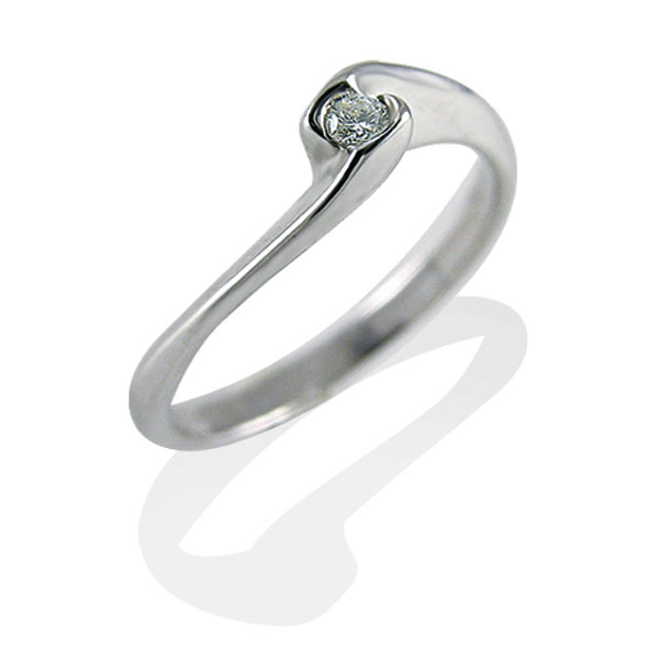 TAGSS532 - Anello solitario in Argento 925 ‰ con diamante ct 0,03