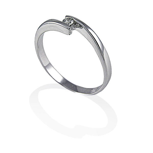 TAGSS552 - Anello solitario in Argento 925 ‰ con diamante ct 0,05