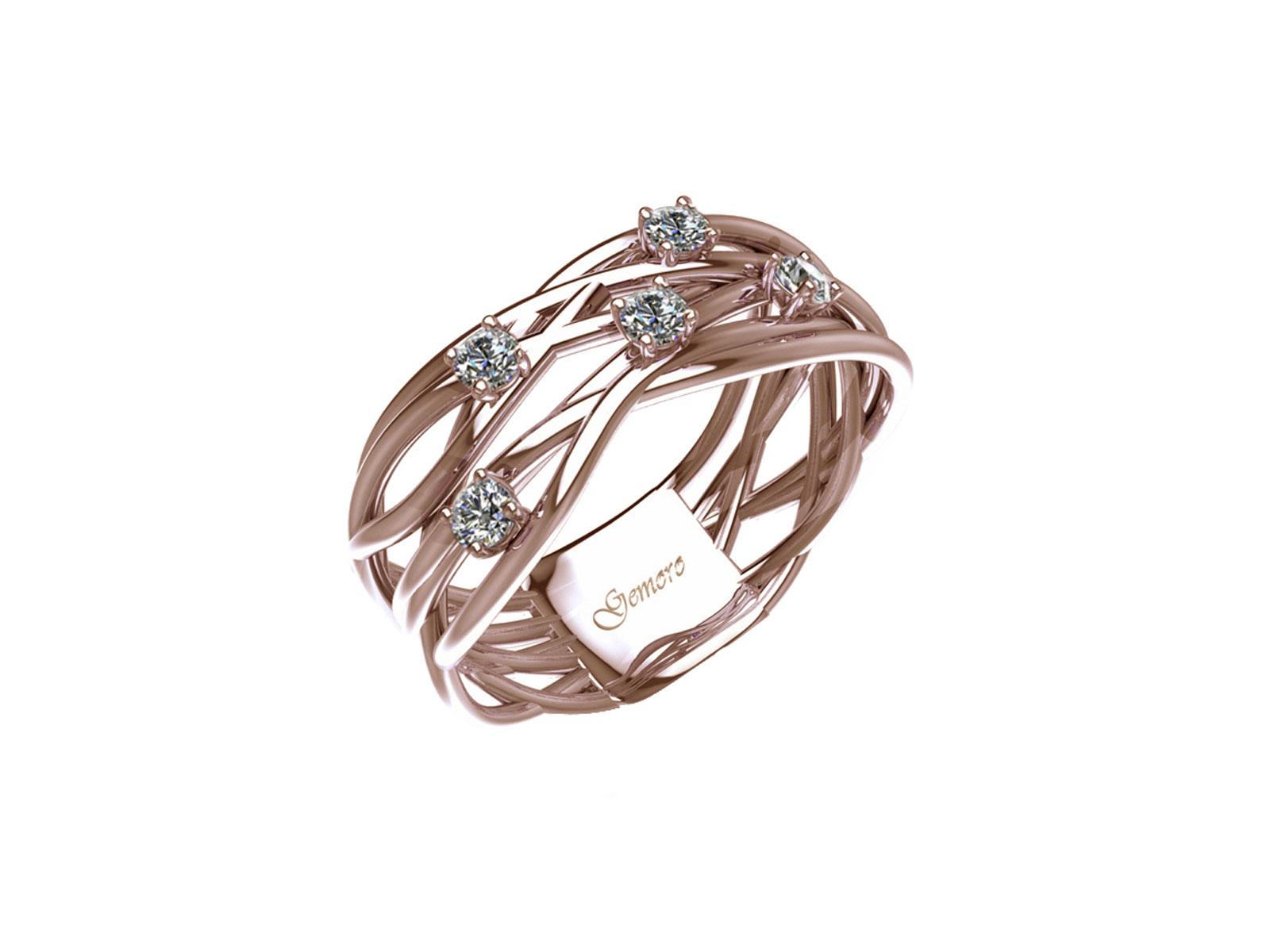 AB1070ROS – Anello in oro 18kt con Diamanti Naturali taglio Brillante