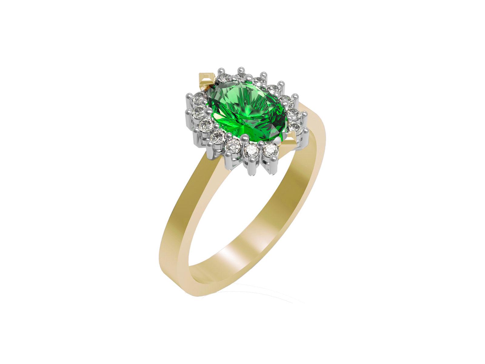 AC397GIA.SM – Anello in oro giallo 18kt con Smeraldo Naturale e Diamanti Naturali