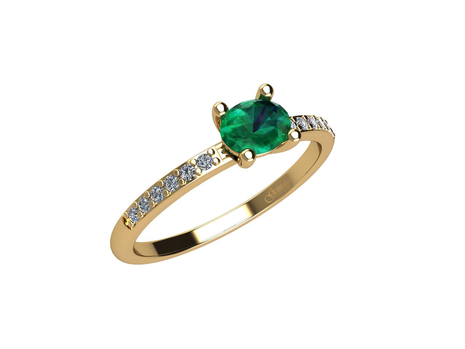AC400GIA.SM – Anello in oro giallo 18kt con Smeraldo Naturale e Diamanti Naturali