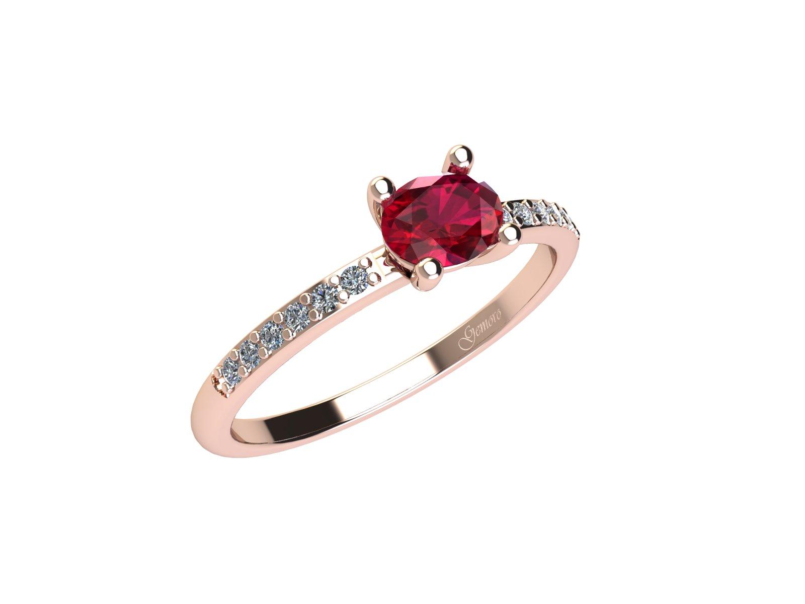 AC400ROS.RB – Anello in oro rosa 18kt con Rubino Naturale e Diamanti Naturali