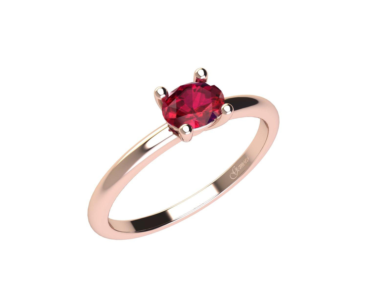 AC401ROS.RB – Anello in oro rosa 18kt con Rubino Naturale