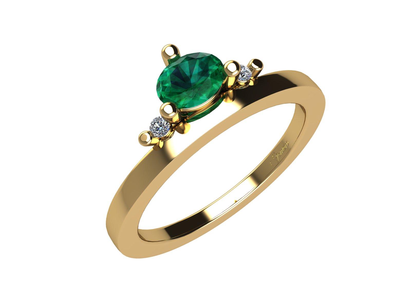 AC402GIA.SM – Anello in oro giallo 18kt con Smeraldo Naturale e Diamanti Naturali