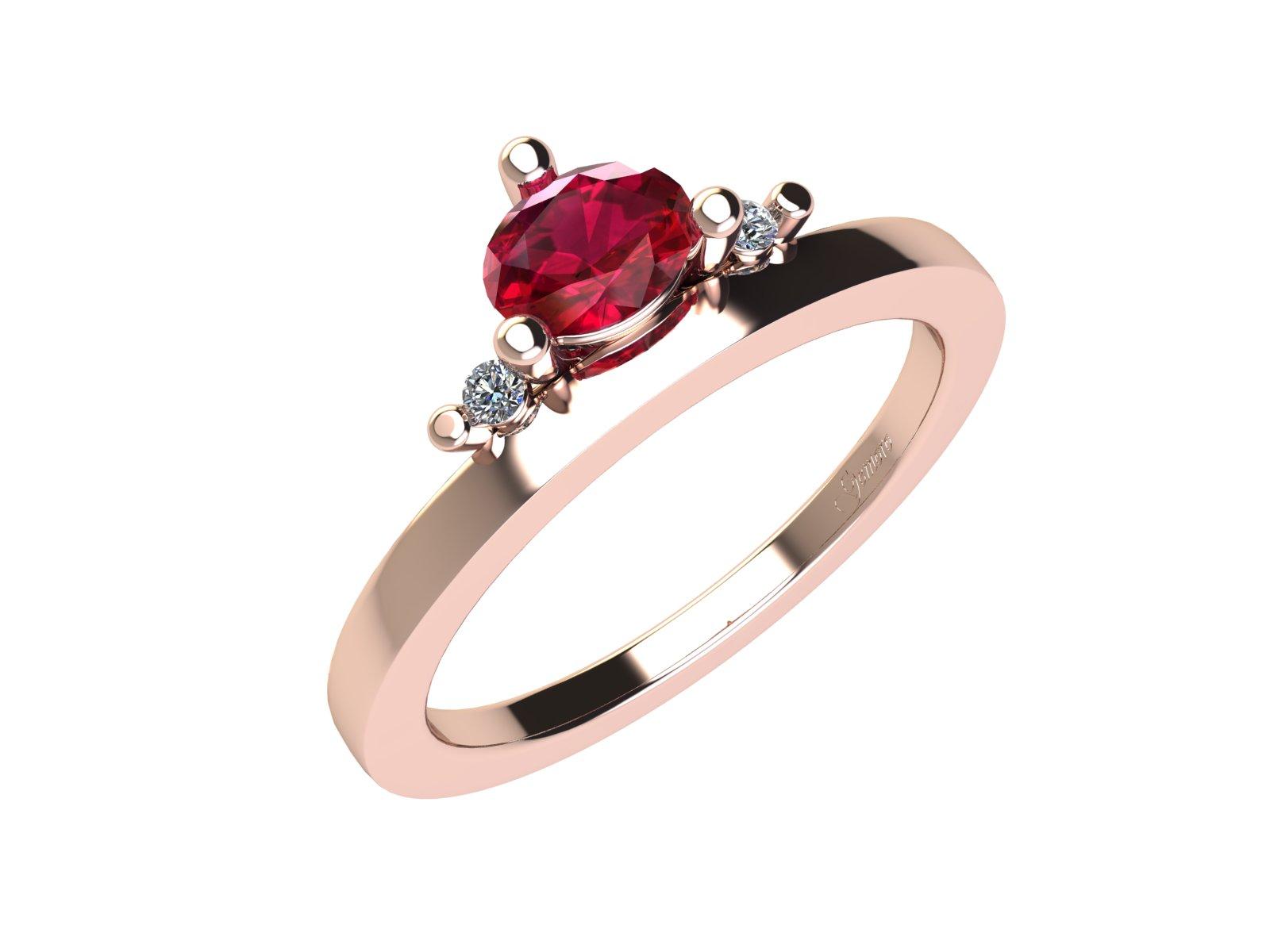 AC402ROS.RB – Anello in oro rosa 18kt con Rubino Naturale e Diamanti Naturali