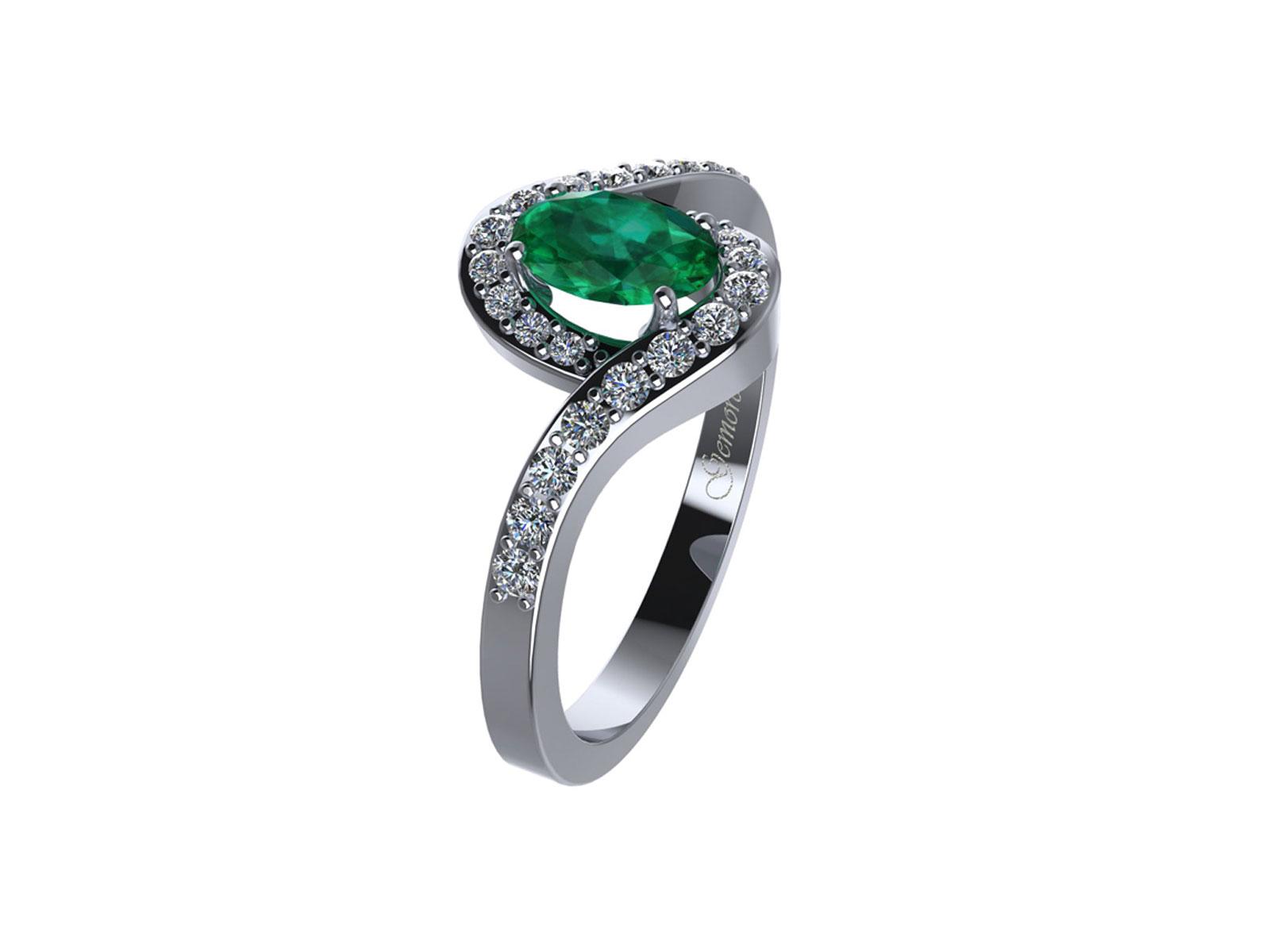AC410BIA.SM – Anello in oro 18kt con Smeraldo Naturale e Diamanti Naturali