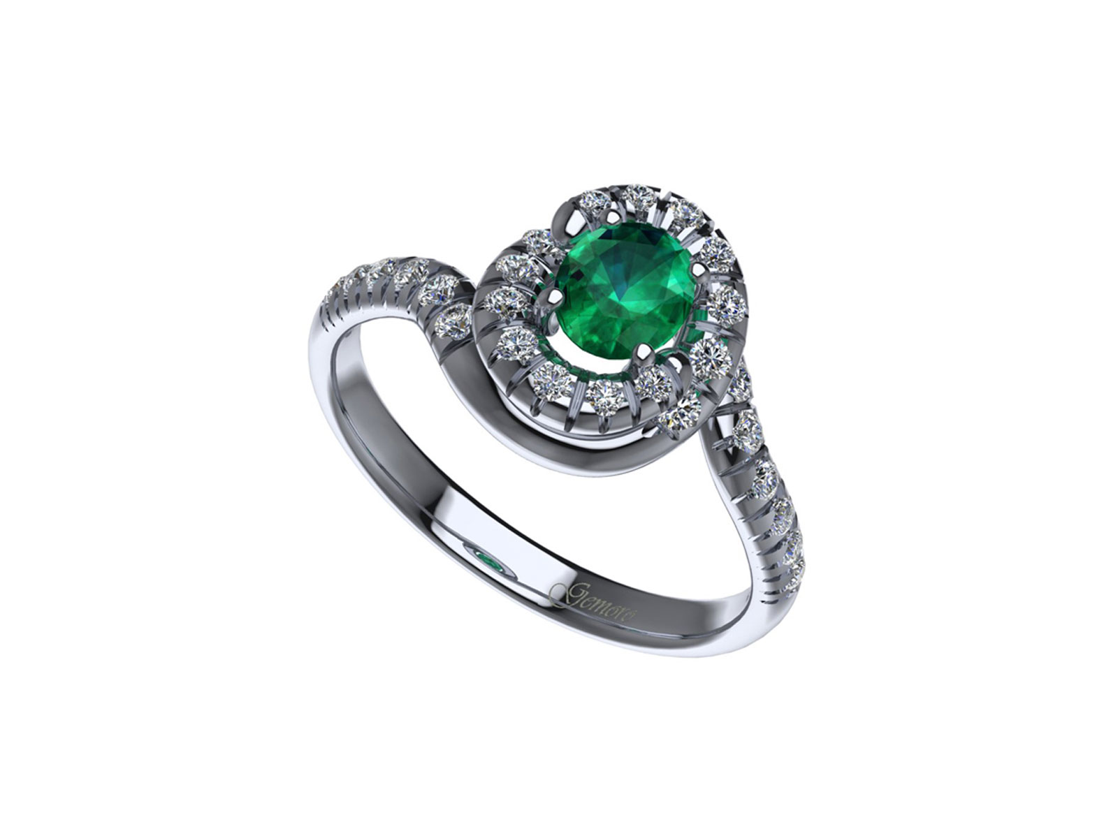 AC412BIA.SM – Anello in oro 18kt con Smeraldo Naturale e Diamanti Naturali