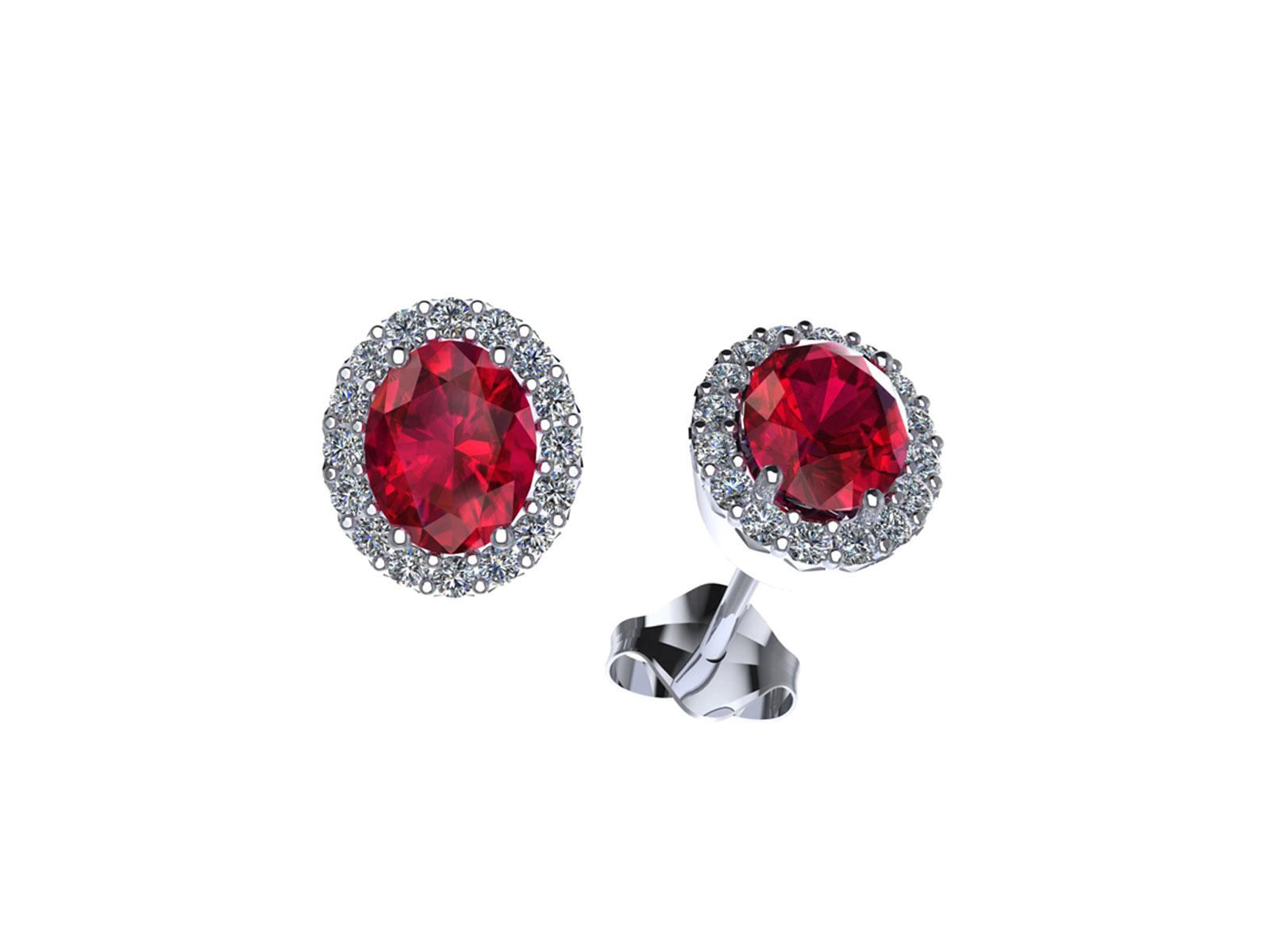 OC095BIA.RB – Orecchini in oro 18kt con Rubino Naturale e Diamanti Naturali