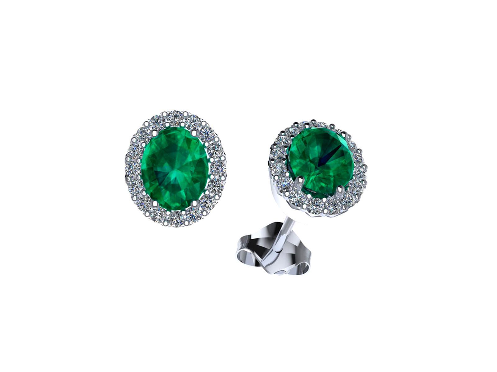 OC095BIA.SM – Orecchini in oro 18kt con Smeraldo Naturale e Diamanti Naturali