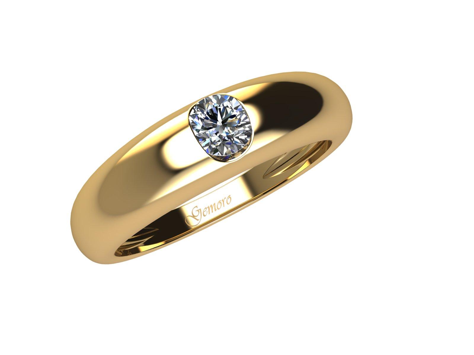 SS737GIA.08 – Anello in oro giallo 18kt con Diamante Naturale taglio Brillante